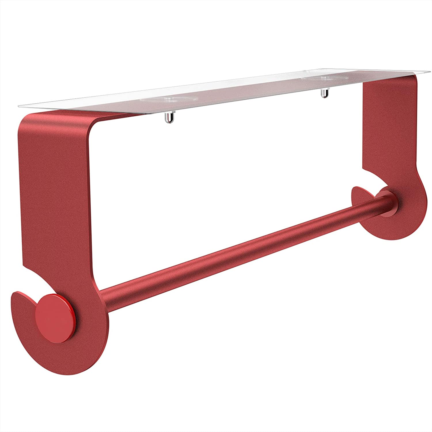 SMARTAKE Paper Towel Holder with Adhesive Under Cabinet, Wall Mounted & No Drilling, Rustproof Paper Towel Holder for Home Kitchen, Easy Tear, Red