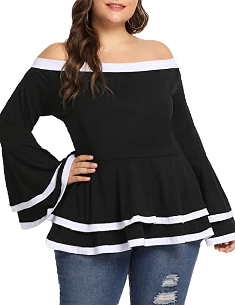 fe5e2939458 Dean Fast Women's Plus Size Ruffled Collar Off Shoulder Bell Sleeve Loose Tops  Blouse Shirts Black