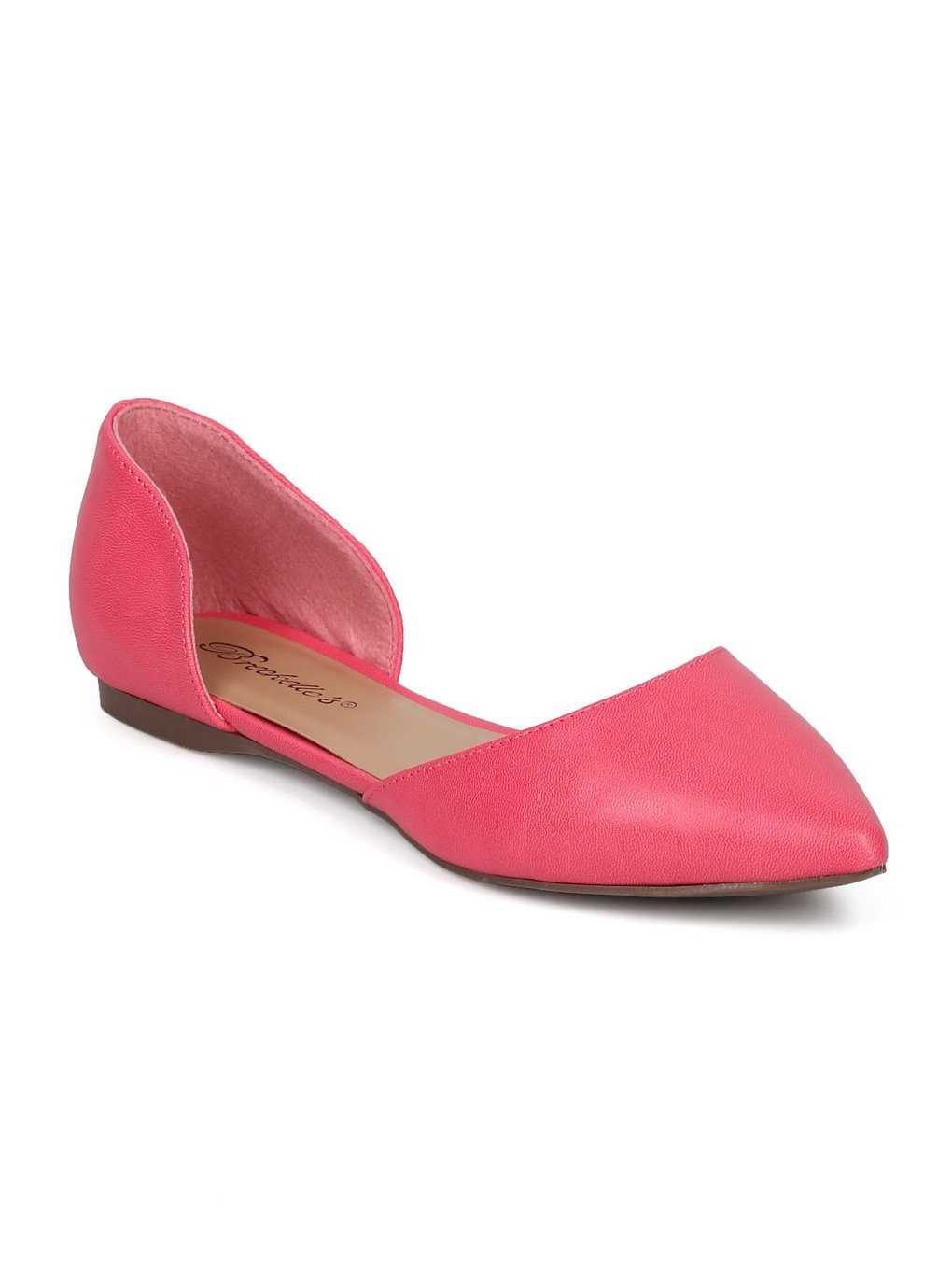 Breckelle's Women Leatherette Pointy Toe Dorsay Flat GG17 B06XJLD5R3 9 M US|Pink