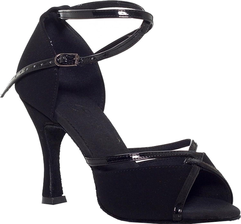 Abby Womens Latin Tango Cha-Cha Salsa Party Modern 3IN Heel Peep-Toe Satin Dance-Shoes