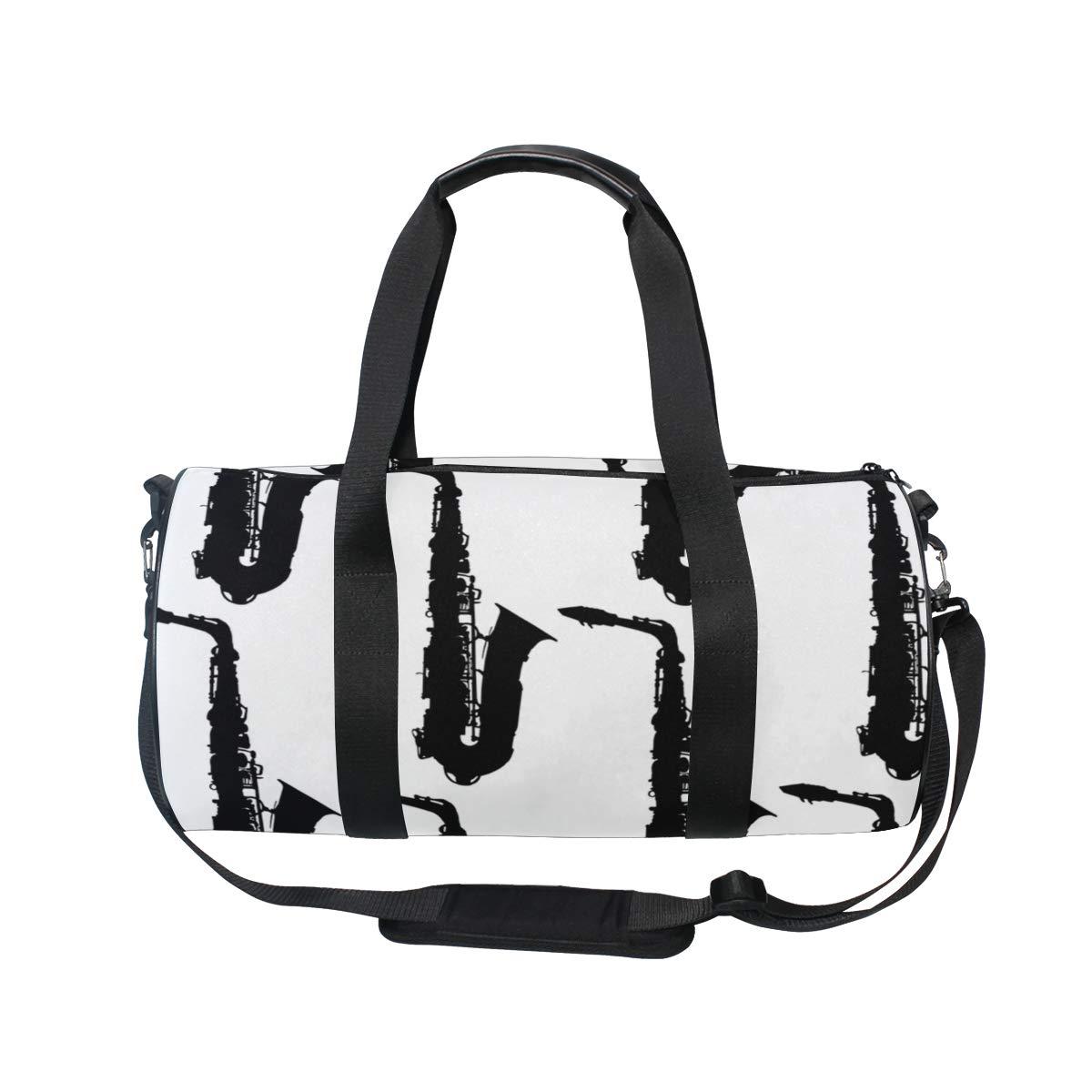 Gym Bag with Vintage Black Saxophone Print Travel Weekender Duffel Bag for Man and Woman