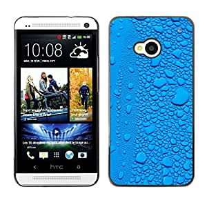MOBMART Carcasa Funda Case Cover Armor Shell PARA HTC One M7 - Blue Ice Raindrops