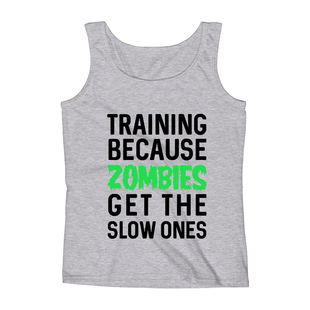 Mad Over Shirts Training Because Zombies Get The Slow Ones Unisex Premium Tank Top