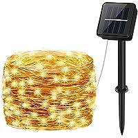 Guirnaldas Luces Exterior Solar, aifulo 10m 100 LED Cadena de Luces, 8 Modos Impermeable Iluminación Decoración para…
