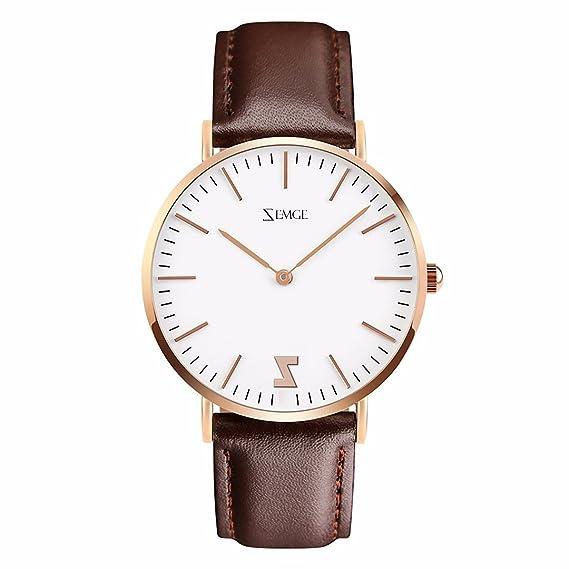 ZEMGE 40MM hombre mujer relojes Ultra Thin Cuarzo Analógico resistente al agua reloj de pulsera unisex Business Casual simple diseño clásico DW estilo ...
