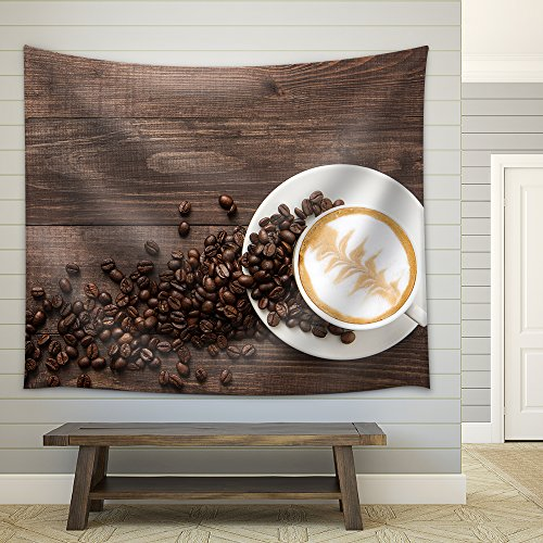 Coffee Cup and Coffee Beans on Wooden Background Top View Fabric Wall