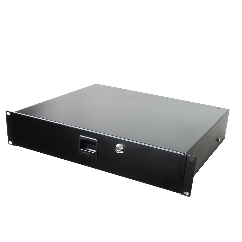 Penn Elcom 3232LK Standard Sliding Steel Rack Drawer for 2 Rack Spaces (2U) with Slam Latch & Key Lock, 14'' Deep Gear Storage