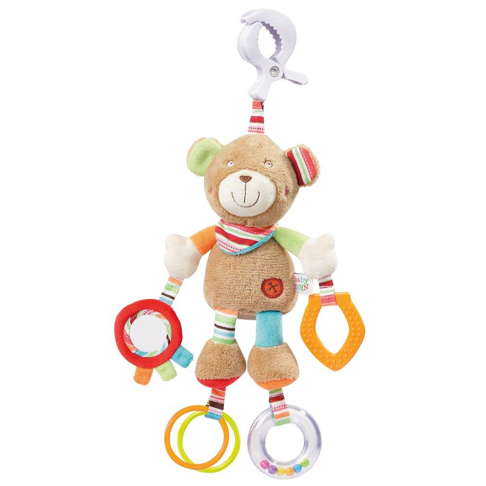 Fehn 091878 Activity-Spieltier Teddy – Motorikspielzeug zum Aufhängen mit Spiegel & Ringen zum Beißen, Greifen und Geräusche erzeugen – Für Babys und Kleinkinder ab 0+ Monaten product image