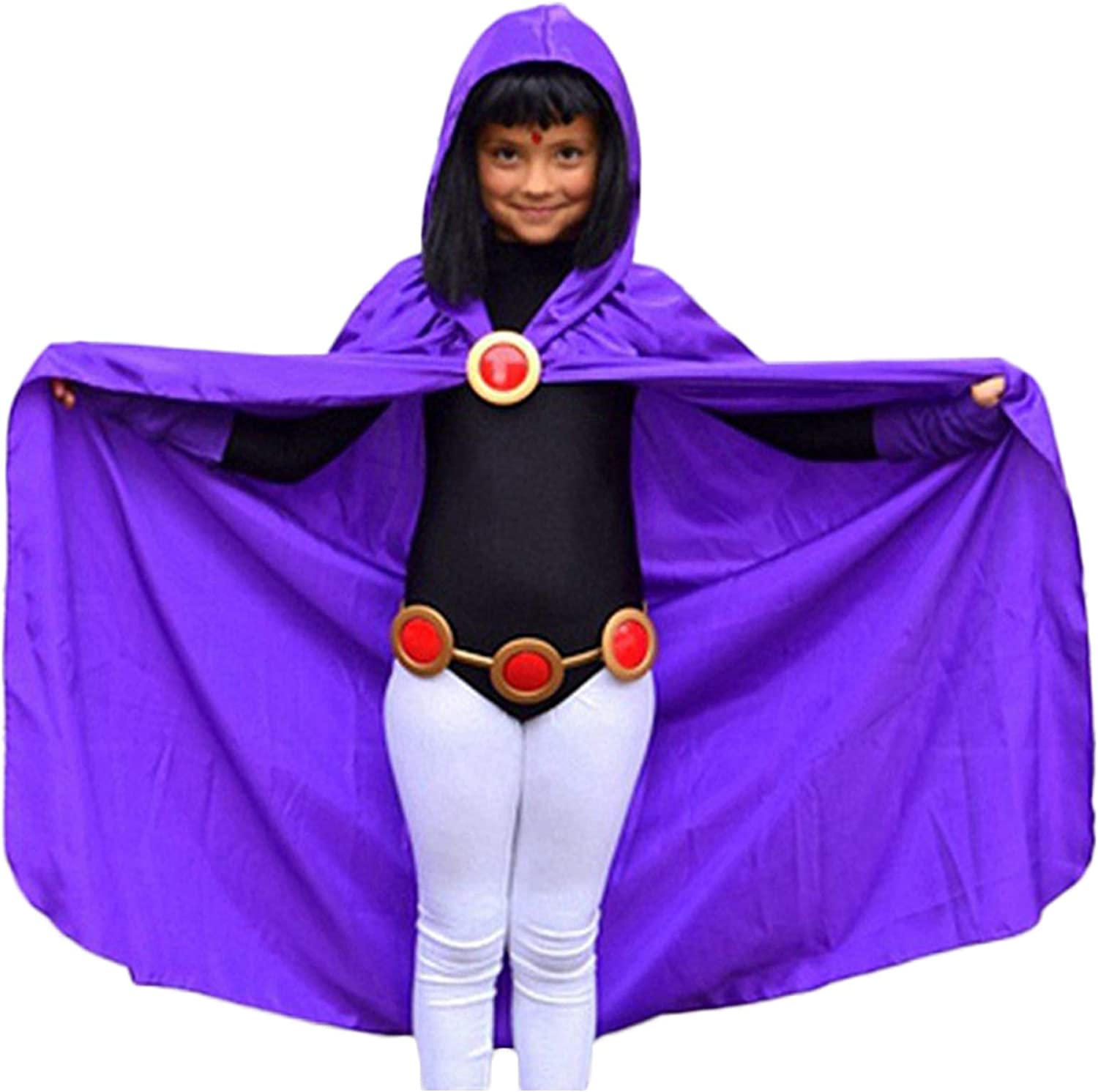 Teen Titans Raven Costume Purple Hooded Cloak Jumpsuit Raven Cosplay Outfit with Belt for Halloween Christmas Party