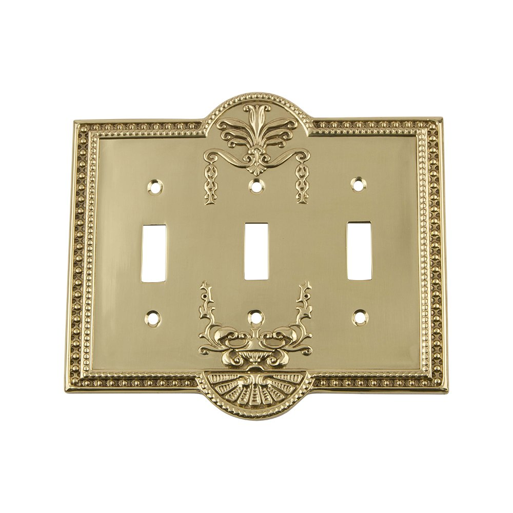 Nostalgic Warehouse 719928 Meadows Switch Plate with Triple Toggle, Polished Brass