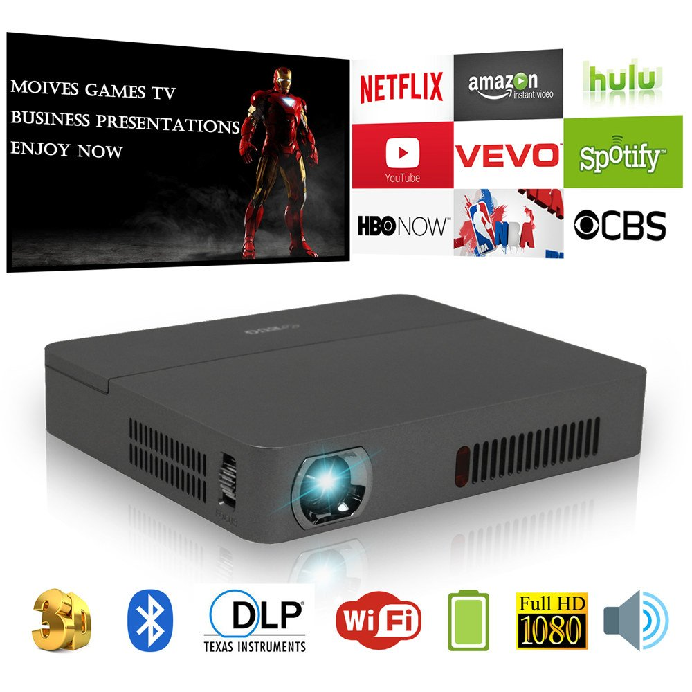 Mini Portable HD WXGA DLP Projector Wireless Airplay 3D Bluetooth 1080P Pocket LED Wifi Android Proyector Movie Game Home Presentation Projectors with HDMI USB Audio SD Built-in Battery Keystone Zoom