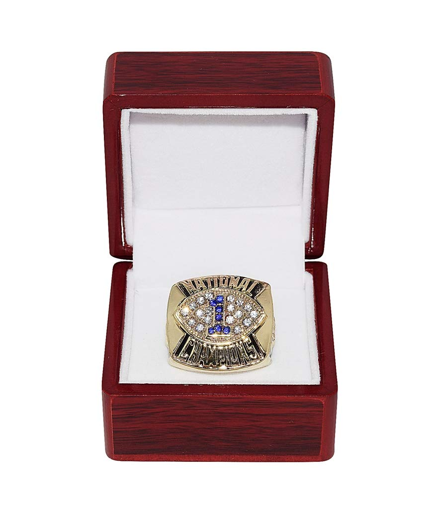 PENN STATE UNIVERSITY NITTANY LIONS (Coach Joe Paterno) 1986 BCS NATIONAL CHAMPIONSHIP Vintage High-Quality Replica NCAA Basketball Gold Championship Ring with Cherrywood Display Box Trackside Autographs