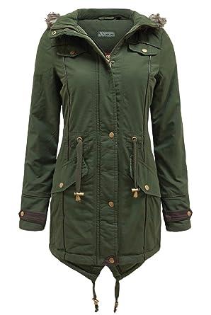 Amazon.com: Noroze Womens Military Fur Hood Long Parka Coat (16 ...