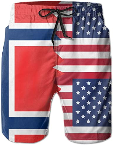 Mens Vintage USA Venezuela Flag Board Shorts with Drawstring Swimming Shorts