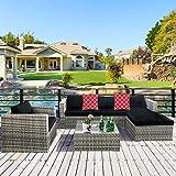 Cloud Mountain 6 Piece Rattan Wicker Furniture Set Outdoor Patio Garden Sectional Sofa Set Cushions Quatrefoil Lattice Red Pillows, Mix Gray