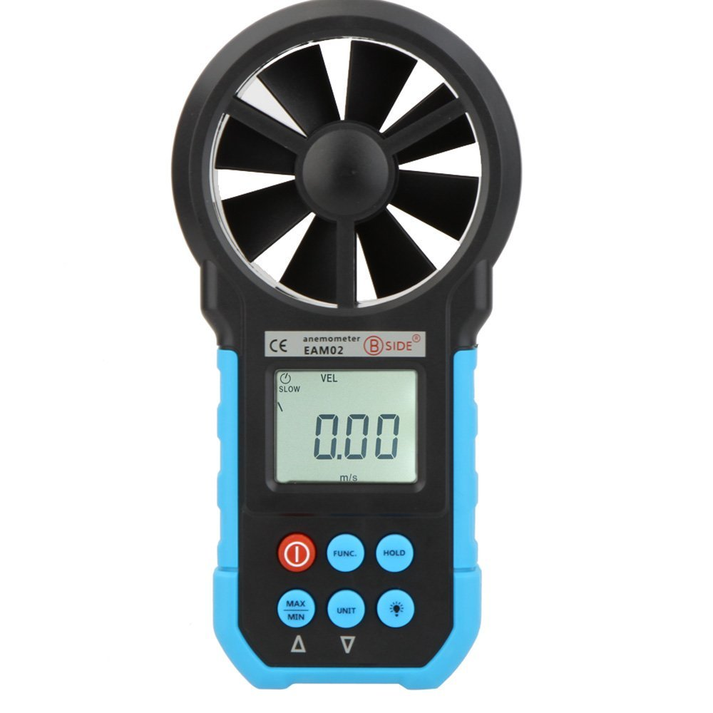 BSIDE Air Velocity/Volume/Area Air Flow Meter Gauge Tester with LCD Backlight Wind Speed Tester Non Contact Digital Anemometer
