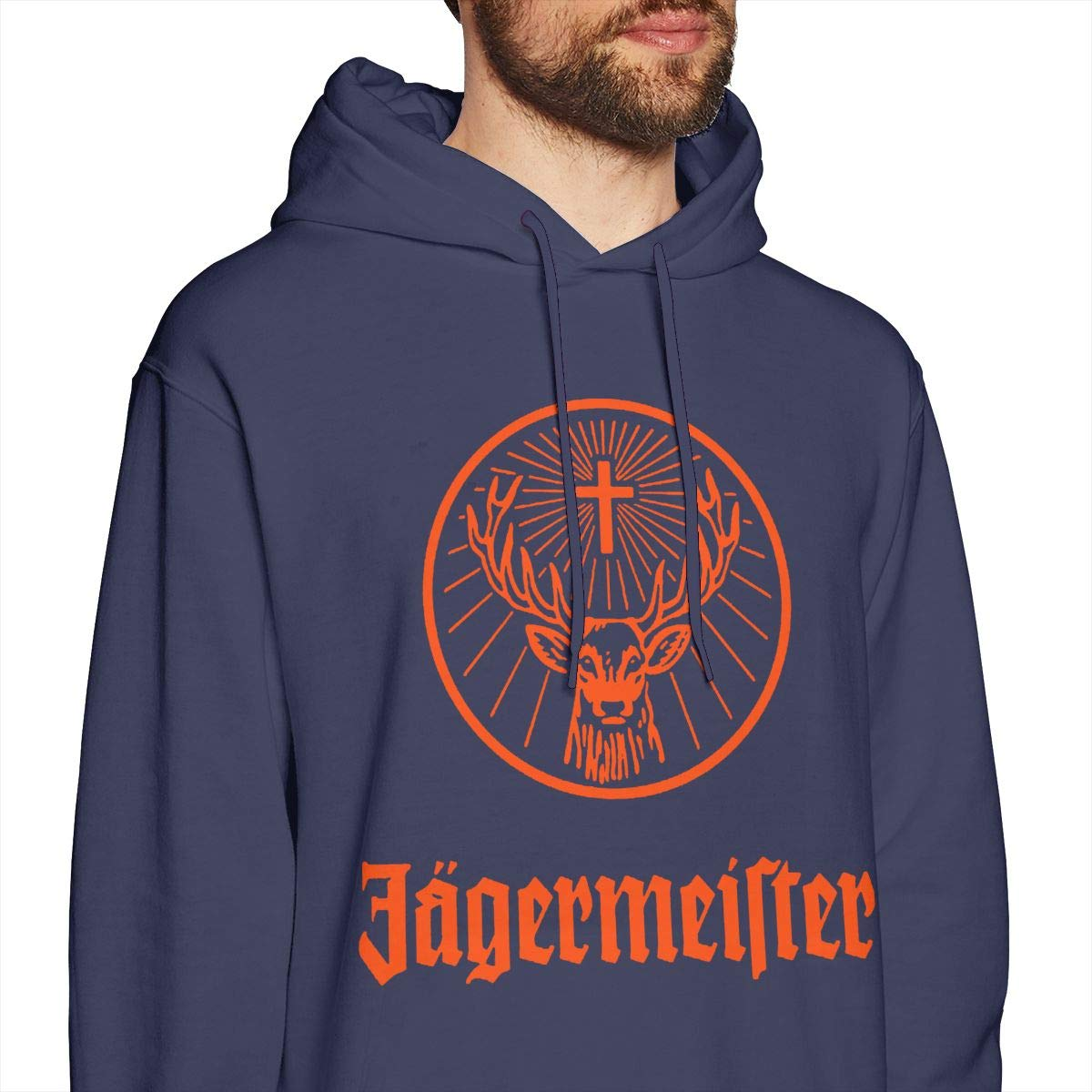 Rizhaoyue Mens Hooded Sweatshirt Jagermeister Logo Personality Street Trend Creation Navy