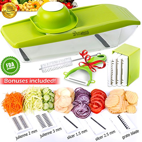 Mandoline Slicer + Peeler and Cleaning Brush - Vegetable Grater - 5 Interchangeable Stainless Steel Blades - Cutter for Potato, Cucumber, onion, Cheese -Julienne Veggie Chopper - Mandolin for kitchen