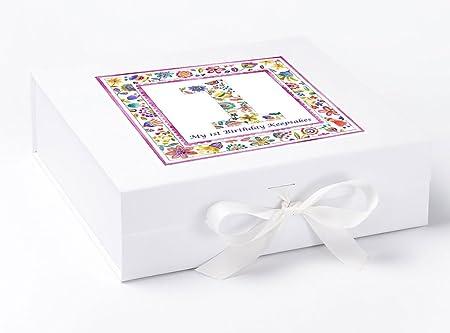 Caja de recuerdo de primer cumpleaños para primer cumpleaños de peonía, Memory Box, caja de recuerdos para bebé niñas, primer cumpleaños regalos regalo de cumpleaños.: Amazon.es: Hogar