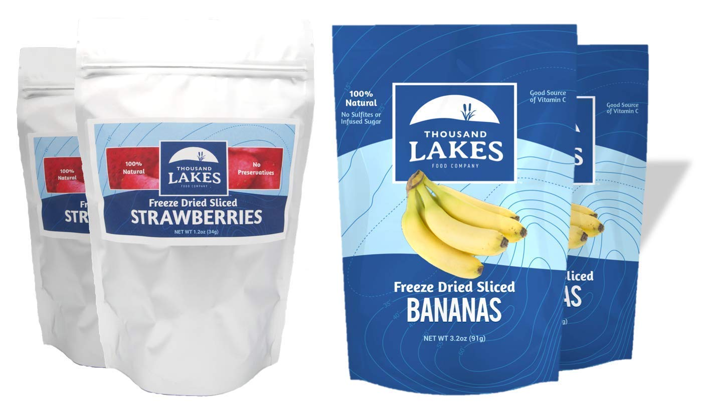 Thousand Lakes Freeze Dried Fruits and Vegetables - Strawberry & Banana 4-Pack Bundle | 100% Fruit | No Sugar Added