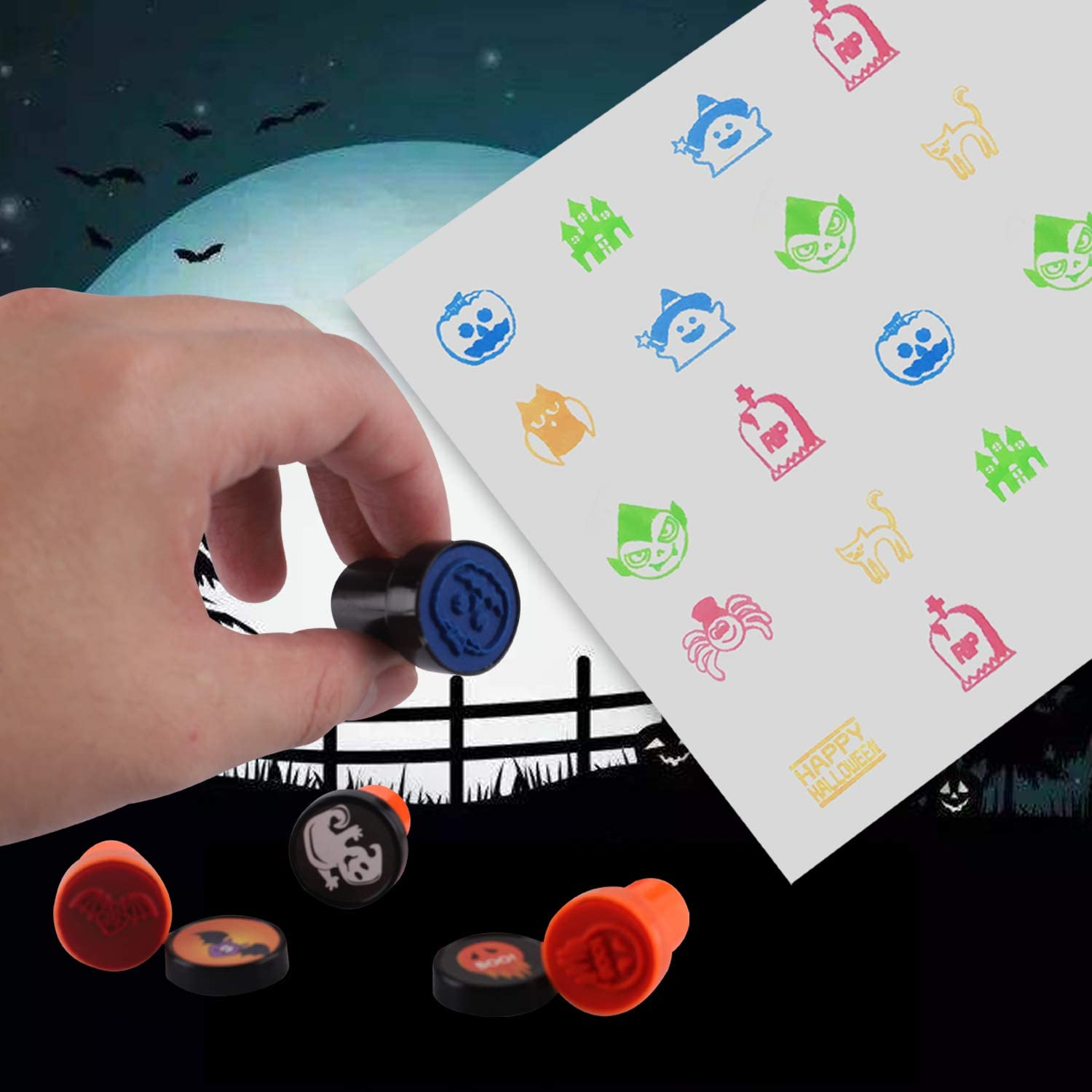 24 Pcs Assorted Halloween Stamps 24 Designs Holiday Toy Gift Halloween Game Prizes For Kids Children Self-Ink Stampers For Party