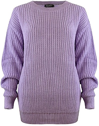 Women Ladies Winter Cable Knit Fishernet Loose Baggy Crew Neck Plus Size Jumper Top