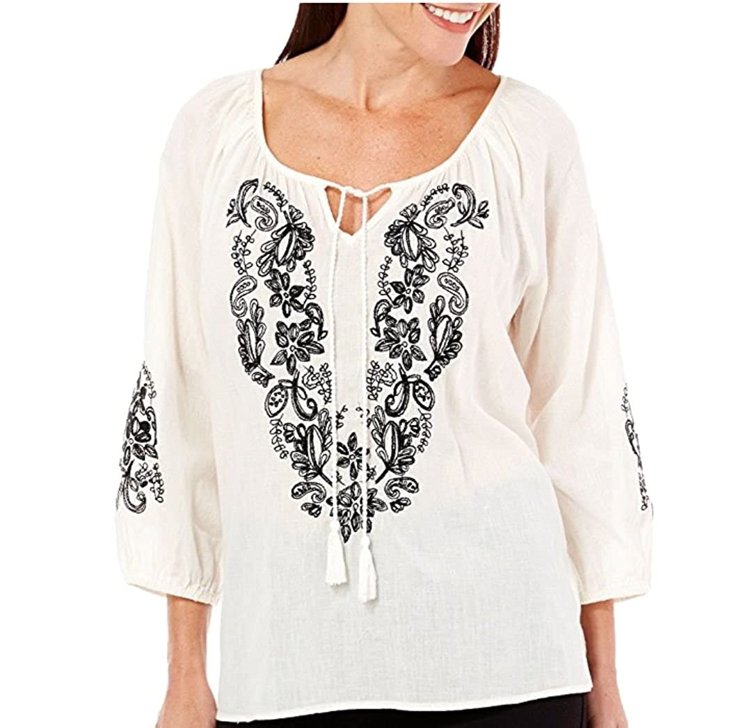 Nine West Jeans Womens Black Embroidery Peasant Tie Front Top Small, White Linen
