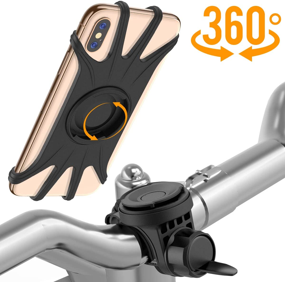 Miracase Universal Bike Phone Mount, Detachable 360 Rotation Cell Phone Holder for Bicycle Motorcycle, Compatible with iPhone XS Max iPhone XR Samsung Galaxy S10 Plus LG MOTO Google Smartphone (Black)