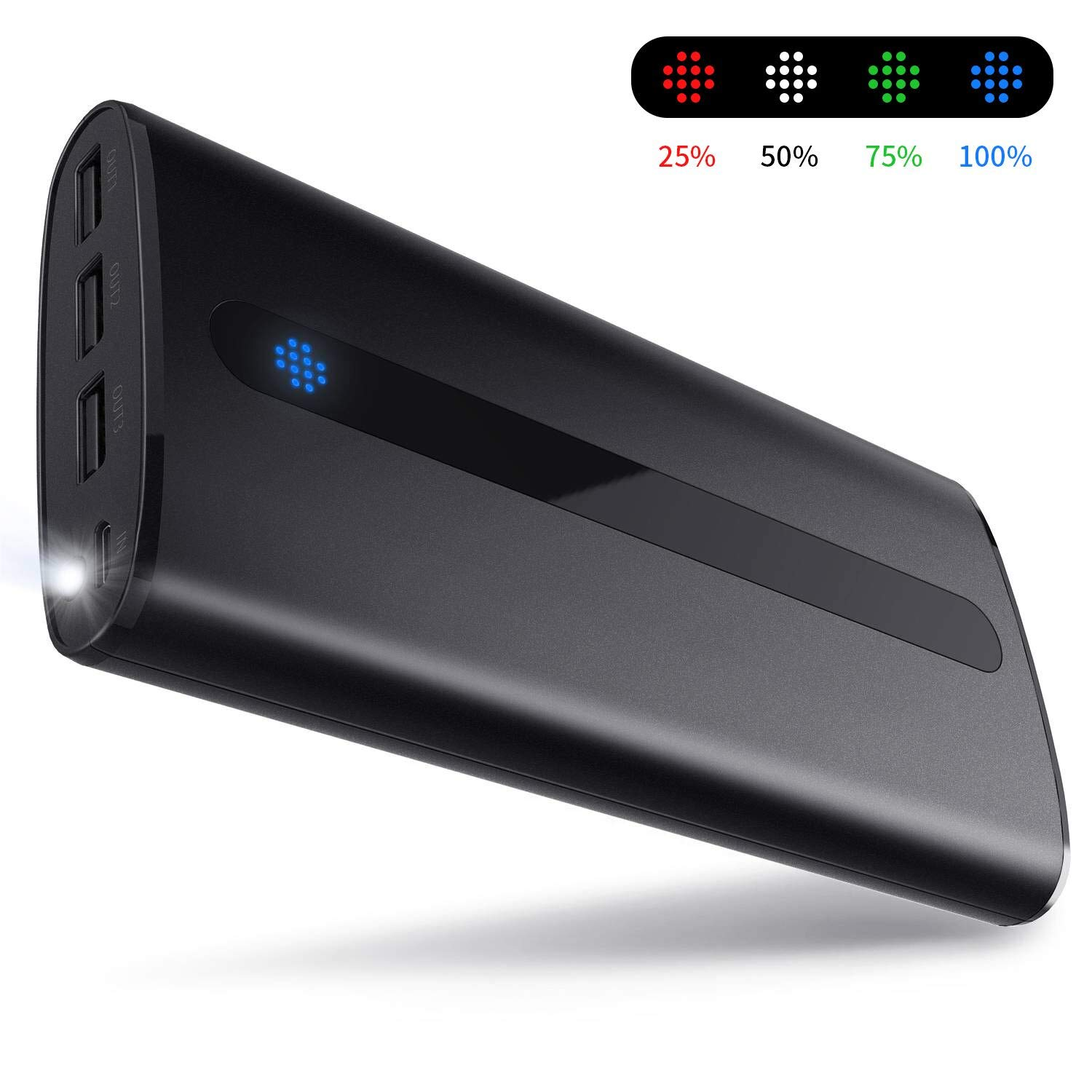 Todamay Power Bank 24000mAh Ultra-Portable Phone Charger External Battery 2.1A Input Port, LED Lights 3 Charging Ports for Smartphone&Other Device, Black
