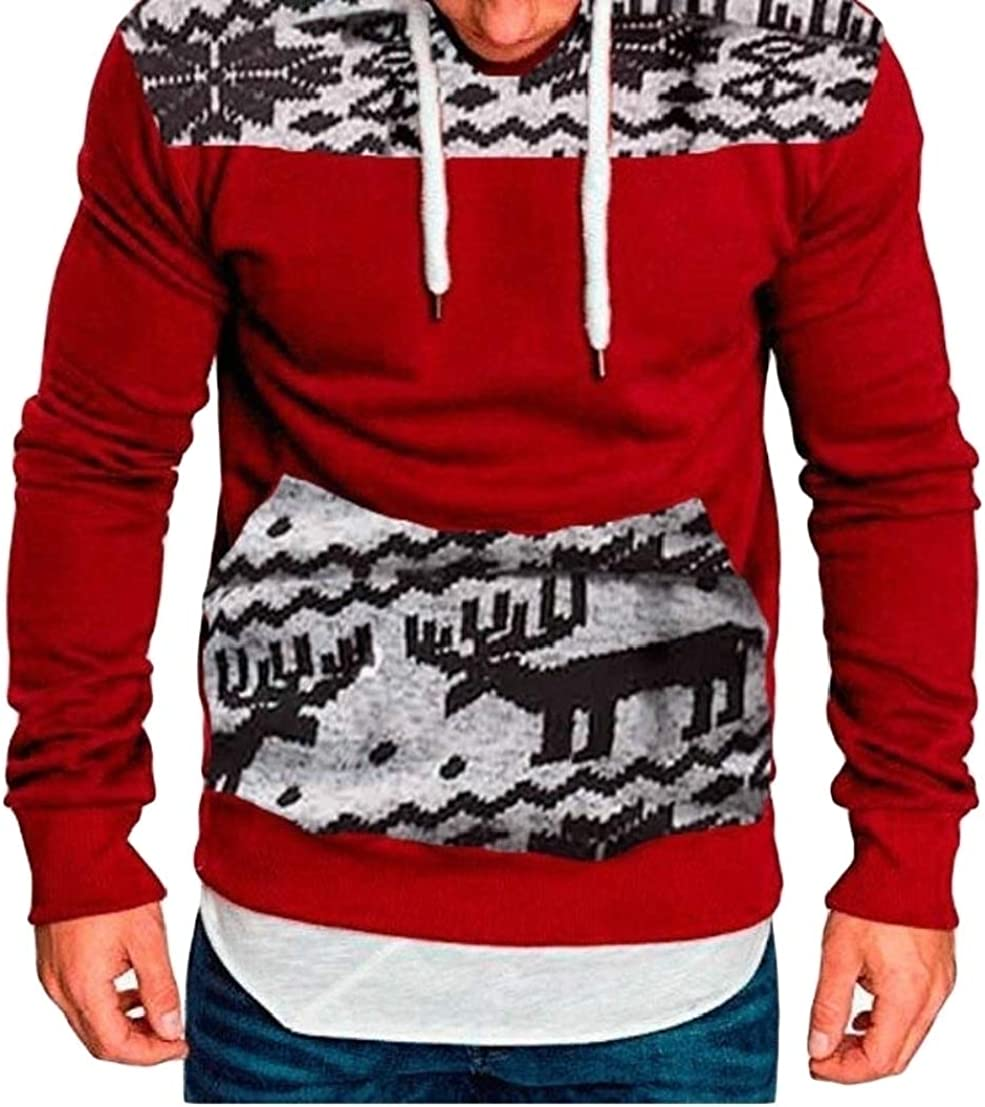 HANA+Dora Men Long Sleeve Hooded Printing Pullover Sweatshirts with Pocket