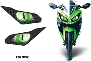 AMR Racing Sport Bike Headlight Eye Graphic Decal Cover for Kawasaki Ninja 300 12-14 - Eclipse Green