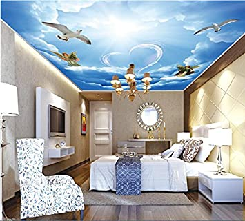 Malilove 3d Deckenmalereien Wallpaper Custom Photo Non Woven Die Weißen  Wolken Liebe Engel Malerei