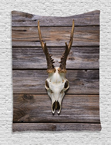 Ambesonne Antlers Decor Tapestry Wall Hanging, Rustic Antler on Wooden Wall Wintertime Mountain Hut Country Style Rustic Decoration, Bedroom Living Room Dorm Decor, 60 W x 80 L inches, Brown Beige