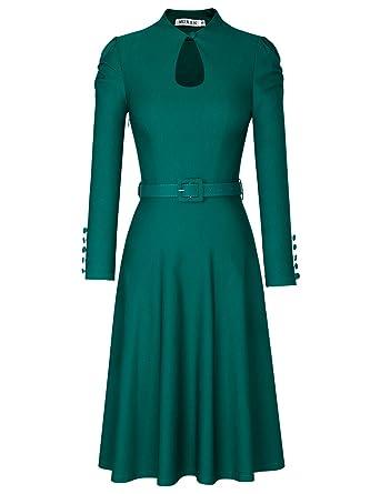 MUXXN Womens Cute Long Sleeve Keyhole Belt Waist Semi Formal Fit and Flare Dress (Dark
