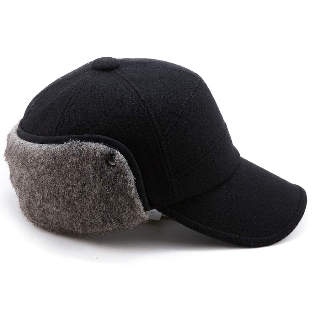 Mens Fitted Wool Baseball Cap Faux Fur Earflap Hunter Winter Army Elmer Fudd Hat Black