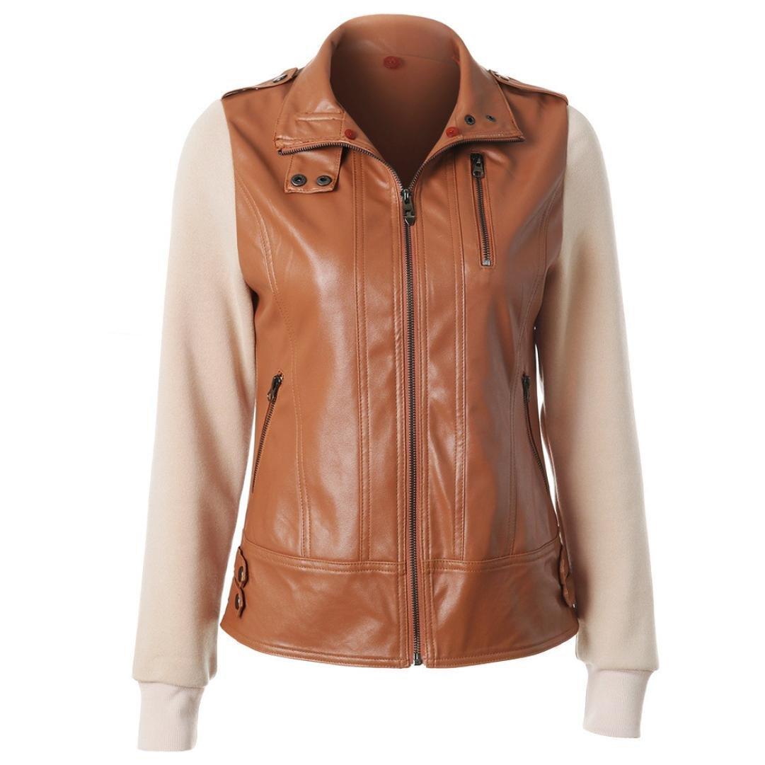 866326cafa596 Amazon.com  Gotd Women Leather Jacket Overcoat Coat Removable Zip  Sweatshirt Pullover Tops Long Sleeve Sweater Casual Autumn Spring Winter Plus  Size (S