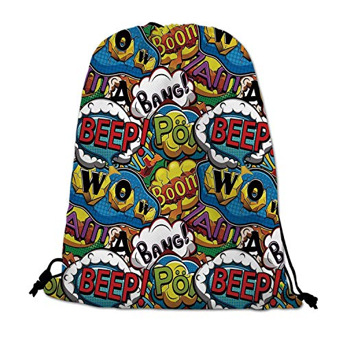 Superhero Lightweight Drawstring Bag,Comics Speech Bubbles Beep Wow with Vivid Old Effects Boys Supernatural Print Decorative for Travel Shopping,One_Size -