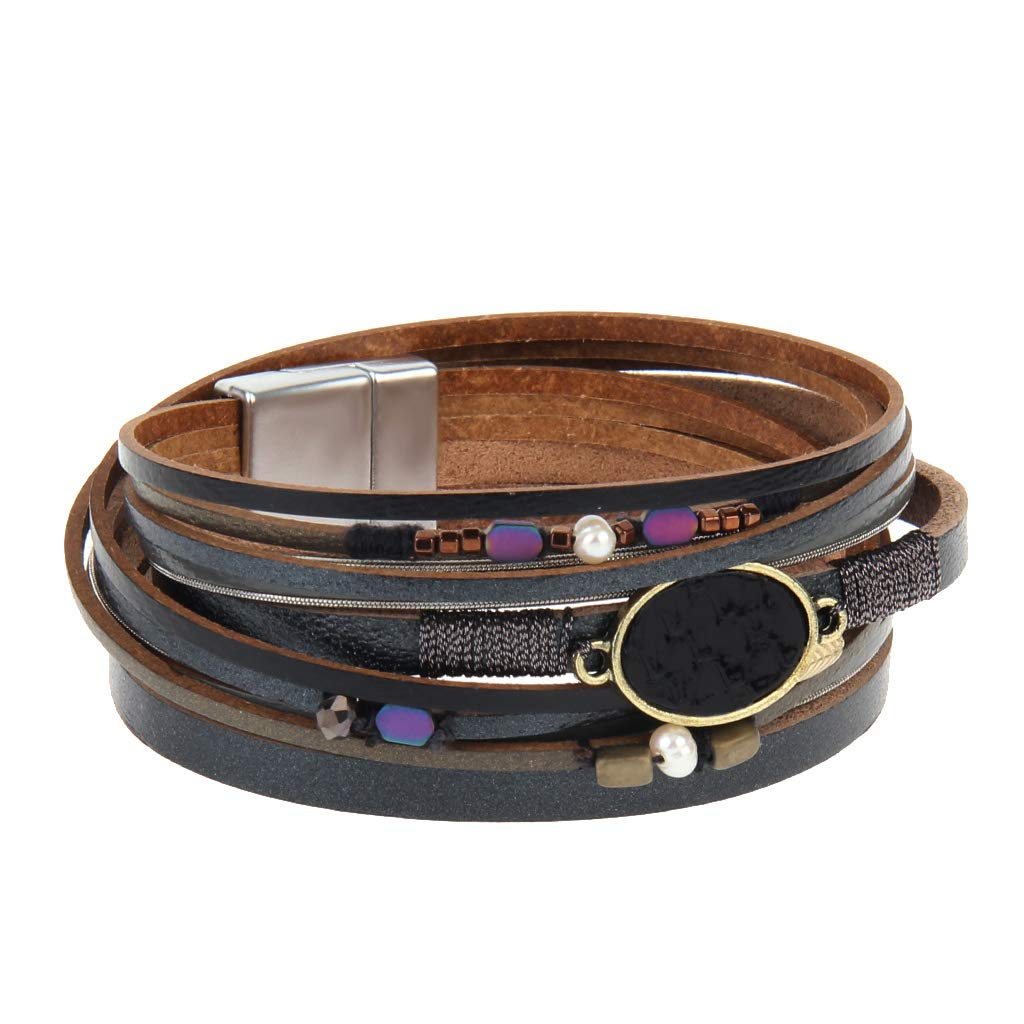 AZORA Leather Wrap Bracelet for Women Handmade Cuff Bangle Jewelry with Magnetic Clasp for Teens Girls Gift