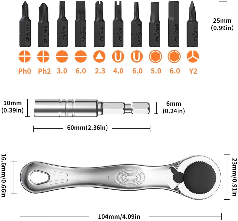 Mini Screwdriver Set BENGOO with Ratcheting Screwdriver and 11Muti-bits Multi-Bit Drivers with Strong Magnetic and High-torque Screwdriver Sets for Computer,Laptop,Household Appliances Repair