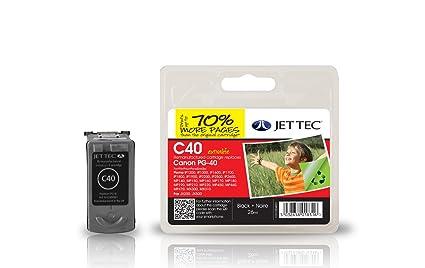 Jet Tec C40 - Cartucho de Tinta para impresoras (Negro, 26 ml ...