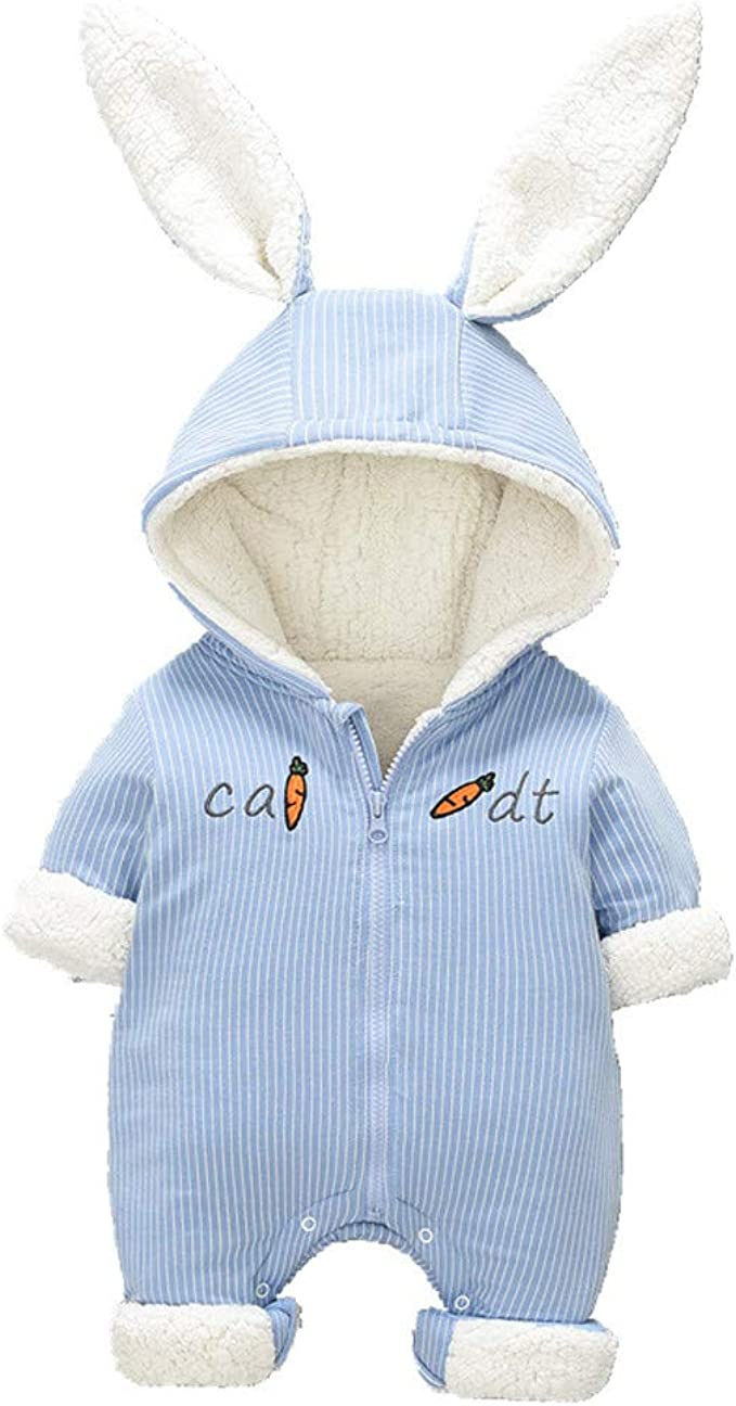 Wei/ß 0-3 Monate Vine Baby Schneeanz/üge Winter Fleece Overall mit Kapuze M/ädchen Jungen Strampler Footed Jumpsuit