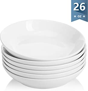 Sweese 117.001 Porcelain Salad Pasta Bowls - 26 Ounce - Set of 6, White