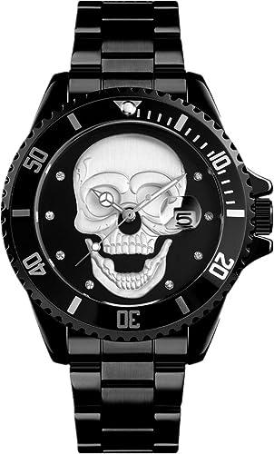 Schwarze Armbanduhr für Herren 3D weißes Totenkopf