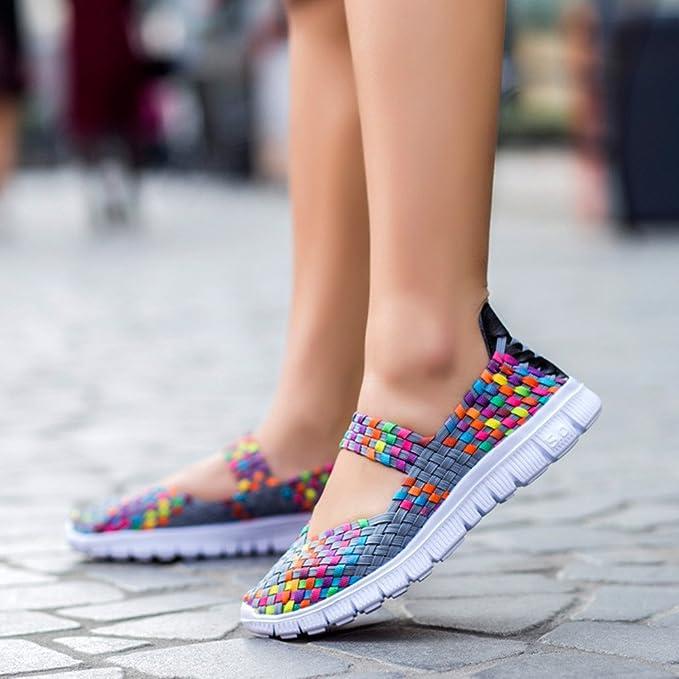 Chanclas Mujer, YiYLinneo Calzado Deportivo Casual para Mujer Tejido De Moda Zapatillas Zapatos Planos Transpirables Zapatillas Chancletas: Amazon.es: Ropa ...