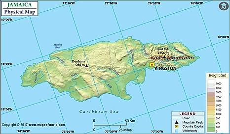 Amazon.com : Jamaica Physical Map (36\