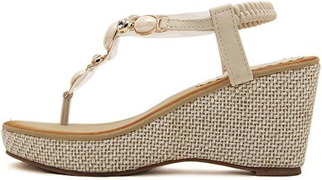 53e070fa508e48 Women s Bohemian Wedges Sandals Summer Beach Platform Comfort Flip Flops Roman  Bling Elastic Thong