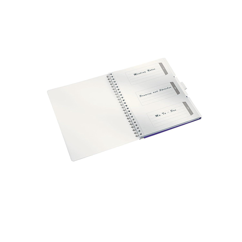 Blu metallizzato A quadretti Carta 80 gr//mq 80 fogli Rilegatura a spirale Leitz Blocco per appunti A4 con copertina in PP Be Mobile WOW 46450036