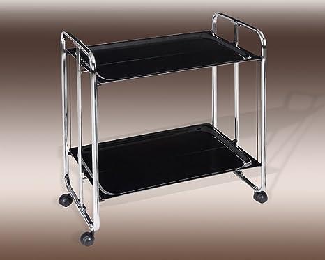 Metalcasa Carrito Camarera Plegable Estructura cromada bandejas Color Negro