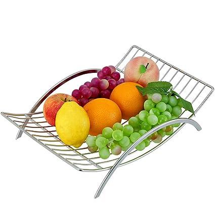 Fruit basket Cesta de Frutas, Acero Inoxidable, Gran Capacidad, fácil de Limpiar,