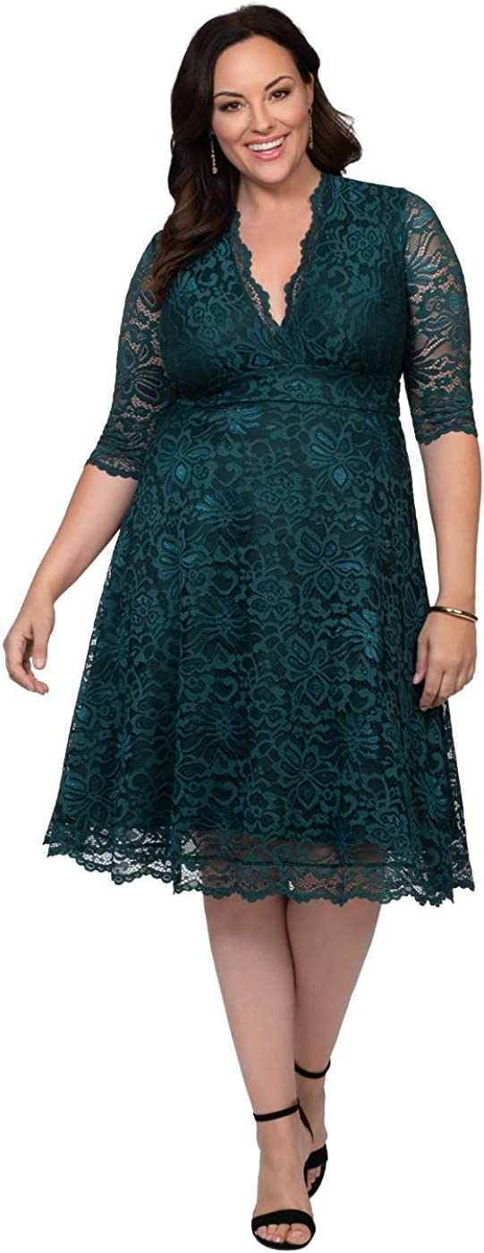 Kiyonna Womens Plus Size Special Occasion Mademoiselle Lace Cocktail Dress